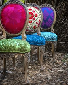 Jewel Tones for October - Chair Whimsy - Jewel Tones for October – Chair Whimsy Jewel Tones for October – Chair Whimsy Furniture Logo, Funky Furniture, Refurbished Furniture, Upcycled Furniture, Furniture Makeover, Painted Furniture, Plywood Furniture, Furniture Design, Painted Dressers