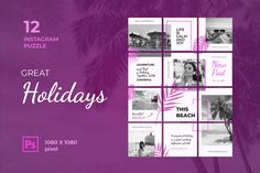 Instagram Puzzle – Great Holidays, is a professional, modern and elegant template for your Instagram posts and Gallery. Inspirational Posts, model photography, product Gallery, introduce your brand and more. With this Instagram post template, you can easily improve the quality of your Instagram with a more attractive and professional one.This template is fully editable and can be customized in Adobe Photoshop. It's very simple to use these template in Photoshop. Just edit texts and put your… Instagram Banner, Instagram Grid, Instagram Posts, Layout Template, Templates, Envato Elements, No Photoshop, Instagram Post Template, Social Marketing