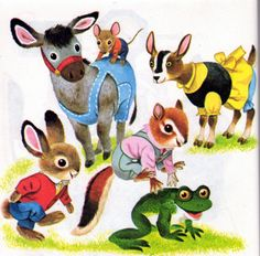 Richard Scarry illustration-  To me these had the sweetest faces.  I loved my Richard Scarry book when I was a girl.  Each page was full of lots of detail.