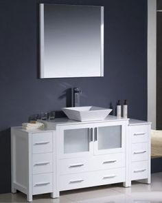 Fresca - Torino 48 Inch White Modern Bathroom Vanity With Side Cabinet And Undermount Sink - - Home Depot Canada White Bathroom Storage, White Vanity Bathroom, Modern Bathroom, Bathroom Vanities, Bathroom Ideas, Bathrooms, Bathroom Stuff, Bathroom Colors, Bathroom Cabinets