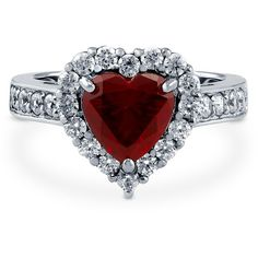 Silver Heart Shaped Simulated Ruby CZ Halo  Promise Engagement Ring... ($55) ❤ liked on Polyvore featuring jewelry, rings, jewelry/ piercings, ruby, sterling silver, women's accessories, heart shaped engagement rings, silver band ring, fake wedding rings and cubic zirconia wedding rings