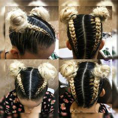 Dutch braids in two buns