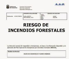 Alerta riesgo incendios forestales Canarias, 10 mayo 2015