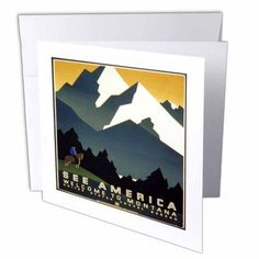 3dRose WPA Montana Travel Poster, Greeting Cards, 6 x 6 inches, set of 12