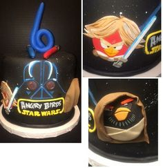 Starwars Angry Bird.  All with hand painted flat cutouts on the side.  2 light sabers on top.  www.nadiacakes.com