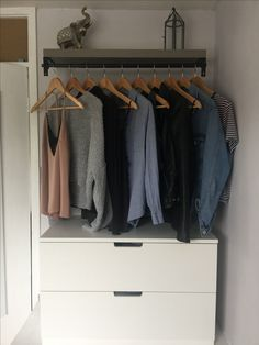 New Wardrobe Set-Up, Shelf with the Ikea Räcka rail and the Betydlig brackets. The drawers are the Nordli collection. I've been looking everywhere on pinterest for inspiration for this and i thought if share my final outcome!