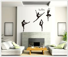 New Design Four Girls Perform Ballet DIY Wall Decal Super for Girls Room Wall Decor