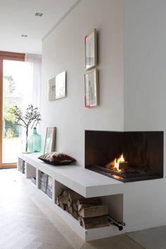 openhaard : Salas de estar modernas por Boks architectuur