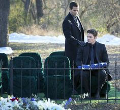 Christopher and John Ross at JR's funeral