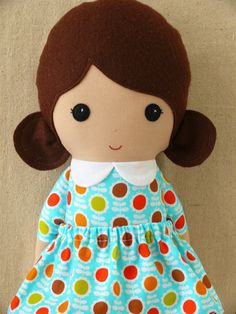 Fabric Doll Rag Doll Girl Doll in Colorful Floral by rovingovine