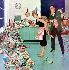 """rogerwilkerson: """"The Party's Over, detail from cover of Saturday Evening Post January 2, 1960. Art by Ben Kimberly Prins. """""""
