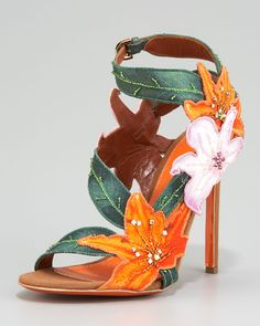 Sergio Rossi Embroidered Canvas Flower Sandal - Neiman Marcus -- I like the lilies. :) Not the heel.