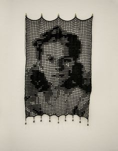 Crochet Portraits Beautiful work from artist Mary Dunn creating black and white portraits of women inspired by old photos but using filet crochet