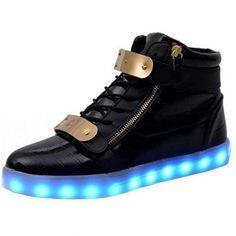 Zwart Lichtgevende Schoenen met Metaal Plaat en Ritsen Dames