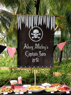 Great pirate birthday party ideas.  See more pirate and birthday parties for kids at www.one-stop-party-ideas.com