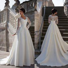 Robe Dentelle Manches Longues de Bal Mariée Mariage Soirée Cérémonie Femme 42-48   Roupas, calçados e acessórios, Casamentos e ocasiões formais, Vestidos de noiva   eBay!