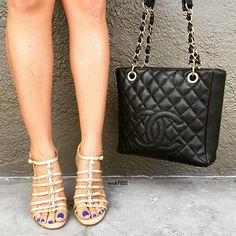 Pretty in Chanel! Call us at 813-258-8800 if you would like to purchase this Chanel Petite Shopper & Chanel heels! #Chanel #cc #chanelshopper #chanelpetiteshopper #purselover #chaneladdict #purseblog #bagsofTPF #shoelover #talkshoes #mymoshposh #moshposhfinds #fashion #luxury #designerconsignment