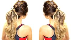 Who says you can't look good at the gym? Braided pony tail to keep hair out of your way while looking cute.