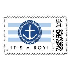 It's a boy! Nautical baby shower or new baby announcement postage stamp with dark blue anchor emblem and pale blue stripes.