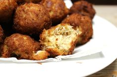 Chesapeake Bay Crab Balls recipe. Succulent Maryland crabmeat seasoned with Old Bay then rolled in to small balls and deep fried--double delicious!