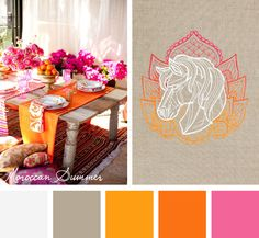 Try this vibrant and sunny Moroccan Summer color scheme out on your embroidery designs.