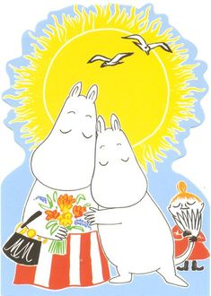A Moomin postcard, from Finland! Moomin Wallpaper, Bear Wallpaper, Iphone Wallpaper, Childhood Stories, Moomin Valley, We Bare Bears Wallpapers, Tove Jansson, Illustration, Fairy Tales