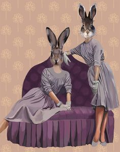 Purple Rabbits 14x11 Art Print Digital Art by LoopyLolly on Etsy, $36.00