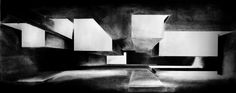 A strong sense of perspective is portrayed to the viewer in this drawing through the use of shading. Deep black shading gradually fades to white, creating depth and helping to describe the shape of the boxes. Shadow Architecture, Interior Architecture Drawing, Architecture Photo, Architecture Student, Conceptual Sketches, Drawing Sketches, Master Thesis, Interior Design Presentation, Architectural Presentation