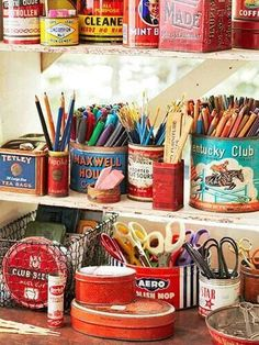 Craft Organization Ideas - Craft Room Makeover Inspiration - Collection of vintage tins to hold art and desk supplies: -