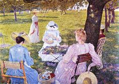 Family in the Orchard - Theo van Rysselberghe