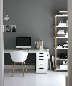 31 White Home Office Ideas To Make Your Life Easier; home office idea;Home Office Organization Tips; chic home office. Home Office Space, Office Workspace, Home Office Design, Home Office Decor, Office Ideas, Office Designs, Desk Space, Workspace Design, Grey Home Office Furniture