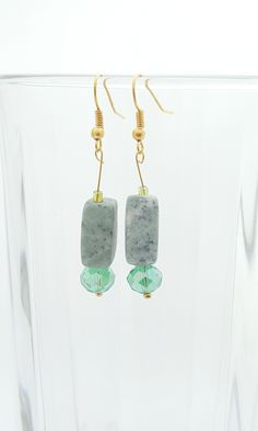 Handmade Gifts of Jewelry: Shades of green glass and marble: One of a kind