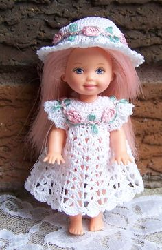 """Barbie's Kelly 4 1/2"""" Doll White Dress & Sunhat with Pink & Green Trim Crochet #ClothingShoes"""