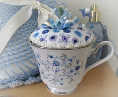 Teacup Pincushion, Noritake Serene Garden Tea cup, Blue, White,Teal, Handmade Soft Sculpture Handcrafted CharlotteStyle Needlecraft on Etsy, $19.00