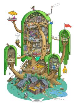 Max Degtyarev is an artist from Russia who specialises in cutaways, my most sacred of artistic fetishes. One of his latest works is Adventure Time's Tree Fort, and it brings a ridiculously detailed and realistic vision to the cartoon universe.