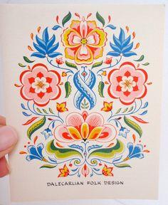 Swedish Folk Art Recipe Cards by Yorkraft by PatriBellaVintage, $14.99