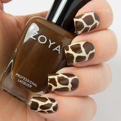 manicurator: Digit-al Dozen September Spectacular Animal (Giraffe) Nail Art with Zoya