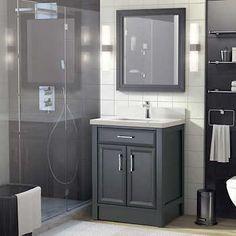 Studio Bathe Calais 28 in. Pepper Grey Vanity with Mirror Gray Vanity, Countertop Materials, Single Sink, Basement Bathroom, Quartz Countertops, Exterior Doors, Cabinet Doors, Backsplash, Costco
