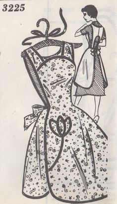 Mail Order Clotilde 3225 1950s Misses Pullover  Scalloped Apron vintage sewing pattern by mbchills