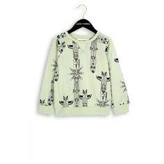 Sweat trui van Mini Rodini.  Groen met zwarte allover print totem. Ronde hals en lange mouwen.