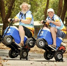 You so need this :) Image: Garry Beurskens & Graham Galpin ride motorized coolers in Darwin, Australia, on Sept. 4 (© Daniel Hartley-Allen/Newspix/Rex Features)