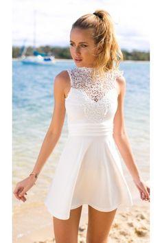White High Neckline Crochet Skater Dress   USTrendy