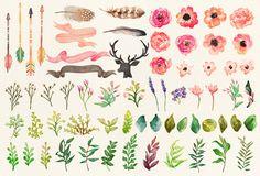 Watercolor flower DIY pack Vol.2Big bundle