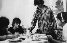 """thegilly: """"The Beatles having breakfast in their hotel during their 1965 US Tour. """""""