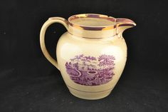 18th Century Batt Printed Creamware Pitcher w/ Luster Accents             ND1902 #Battprinted #unknown