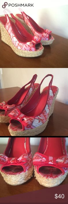Coach wedges Red and pink with straw bottom .. Slink back Coach Shoes Wedges