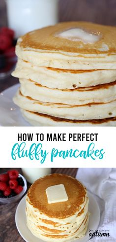 This is the PERFECT fluffy pancake recipe! It's super easy to mix up from pantry ingredients you have on hand, and they taste amazing! # Easy Recipes sweets How to make PERFECT Fluffy Pancakes {super easy recipe!} - It's Always Autumn Pancakes Sans Gluten, Pancakes Vegan, Pancakes Easy, French Pancakes, How To Cook Pancakes, Making Pancakes, Breakfast Pancakes, Pancakes And Waffles, Pancakes From Scratch