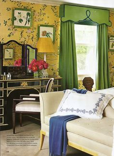 Chinoiserie hand painted wallpaper, great draperies, black desk and vanity mirror - Miles Redd