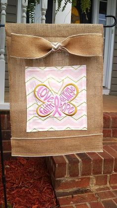 Beautiful Breast Cancer Awareness Embroidered Burlap Garden Flag. Pink and Gold Chevron, adorned with butterfly breast cancer ribbon. by BACustomEmbroidery on Etsy