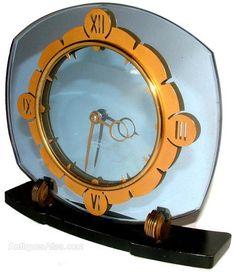 Antiques Atlas - Art Deco Blue Mirror Clock By Smiths